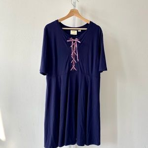 Maeve Anthropologie Lace Up Dress Fit Flare Ponte